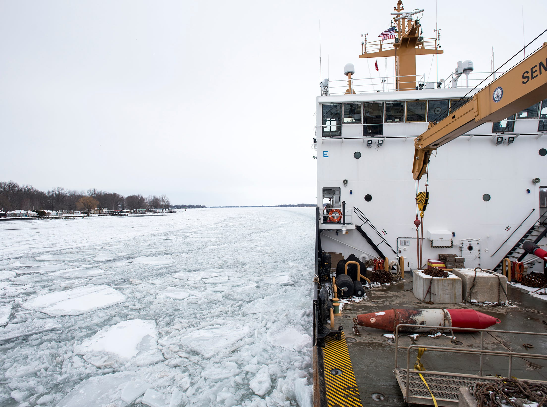 The USCGC Hollyhock pushes south past Algonac through ice on the St. Clair River Wednesday, Feb. 20, 2019. Lt. Cmdr. Nick Monacelli, commanding officer of the Hollyhock, said its been a tough year for icebreaking.