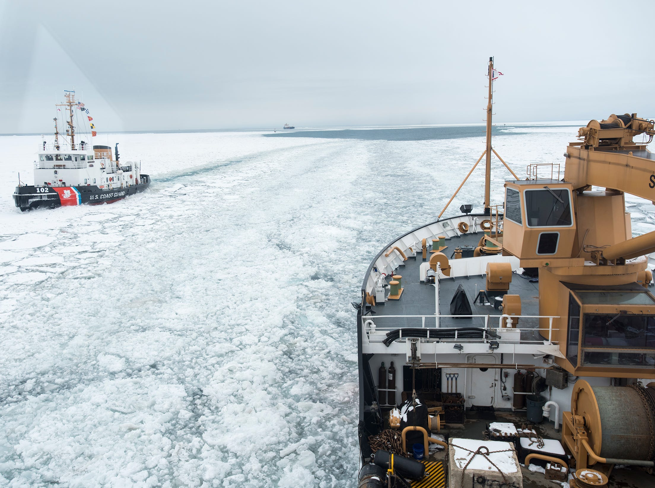 As the USCGC Bristol Bay passes the Hollyhock, the two ships exchange horns. That, Monacelli said, is called a Great Lakes Salute.