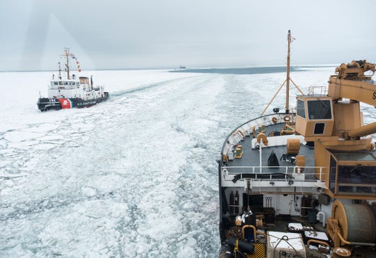 As the USCGC Bristol Bay passes the Hollyhock on the St. Clair River Wednesday, Feb. 20, 2019, the two ships exchange horns. That, U.S. Coast Guard Lt. Commander Nick Monacelli said, is called a Great Lakes Salute.