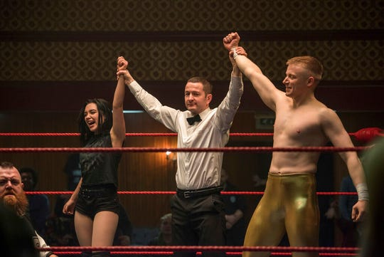 """Florence Pugh, left, and  Jack Lowden, right, star in """"Fighting with My Family."""" The movie is playing at Regal WEst Manchester Stadium 13 and R/C Hanover Movies."""