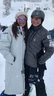Megan Smallhouse with Australian ski team member Brittany George in deer Park Utah earlier this month.