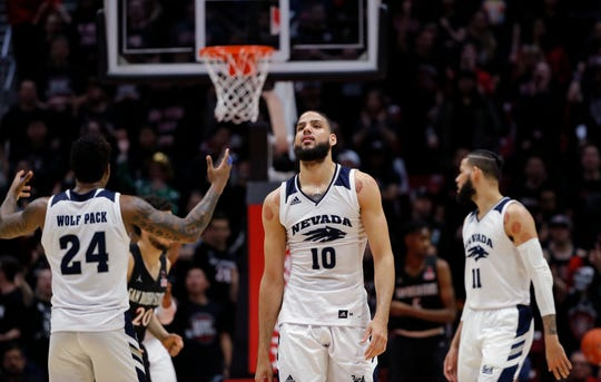 Caleb Martin, center, was the only Wolf Pack player to finish in double-figure scoring in Wednesday's loss at San Diego State.