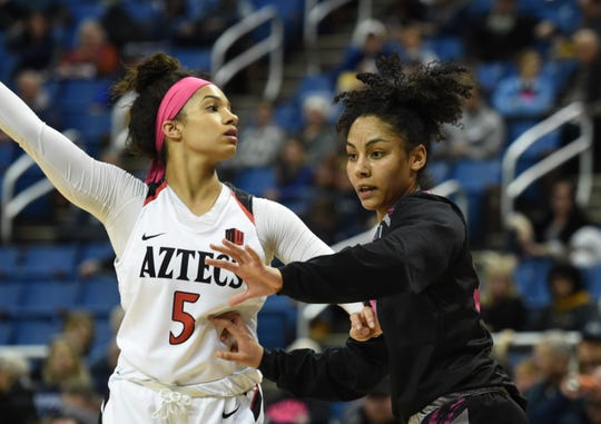 Nevada's Jade Redmon defends against San Diego State's Te'a Adams at Lawlor Events Center on Feb. 20. Nevada beat San Diego State 74-69.