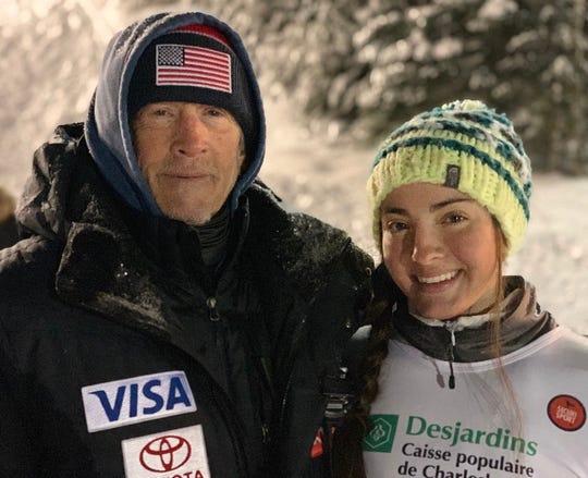 Megan Smallhouse with U.S. ski team recruiter John Curran.