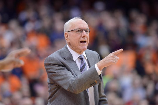 Syracuse men's basketball coach Jim Boeheim calls out to his team during the first half of Wednesday night's  69-49 win over Louisville at the Carrier Dome. Syracuse police say Boeheim struck and killed a pedestrian with his car on I-690 around midnight.