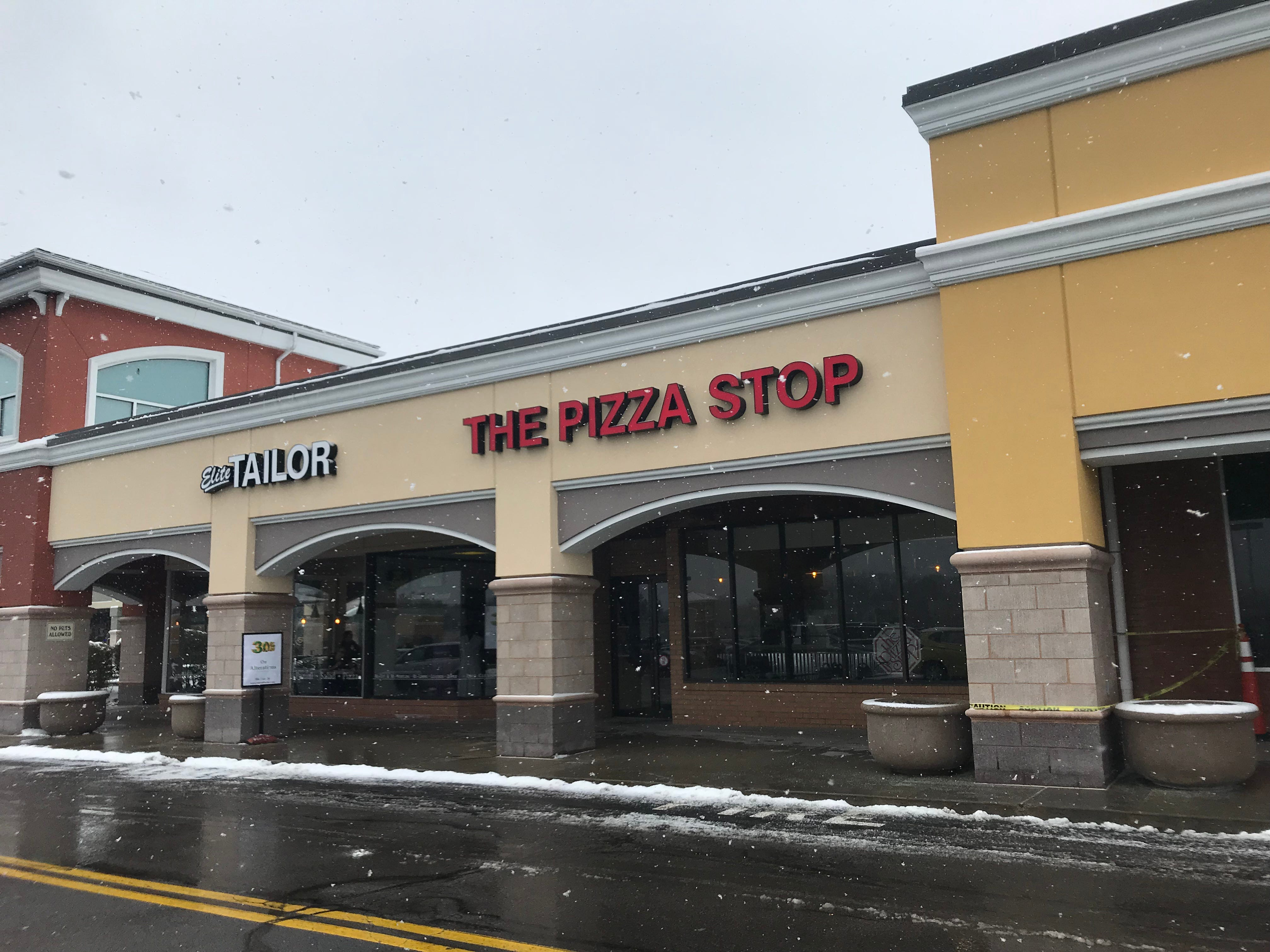The Pizza Stop is in Pittsford Plaza, two doors down from Trader Joe's.