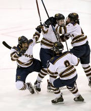 Spencerport's Joey Cuzzupoli (19) celebrates his goal with teammates against Canandaigua.