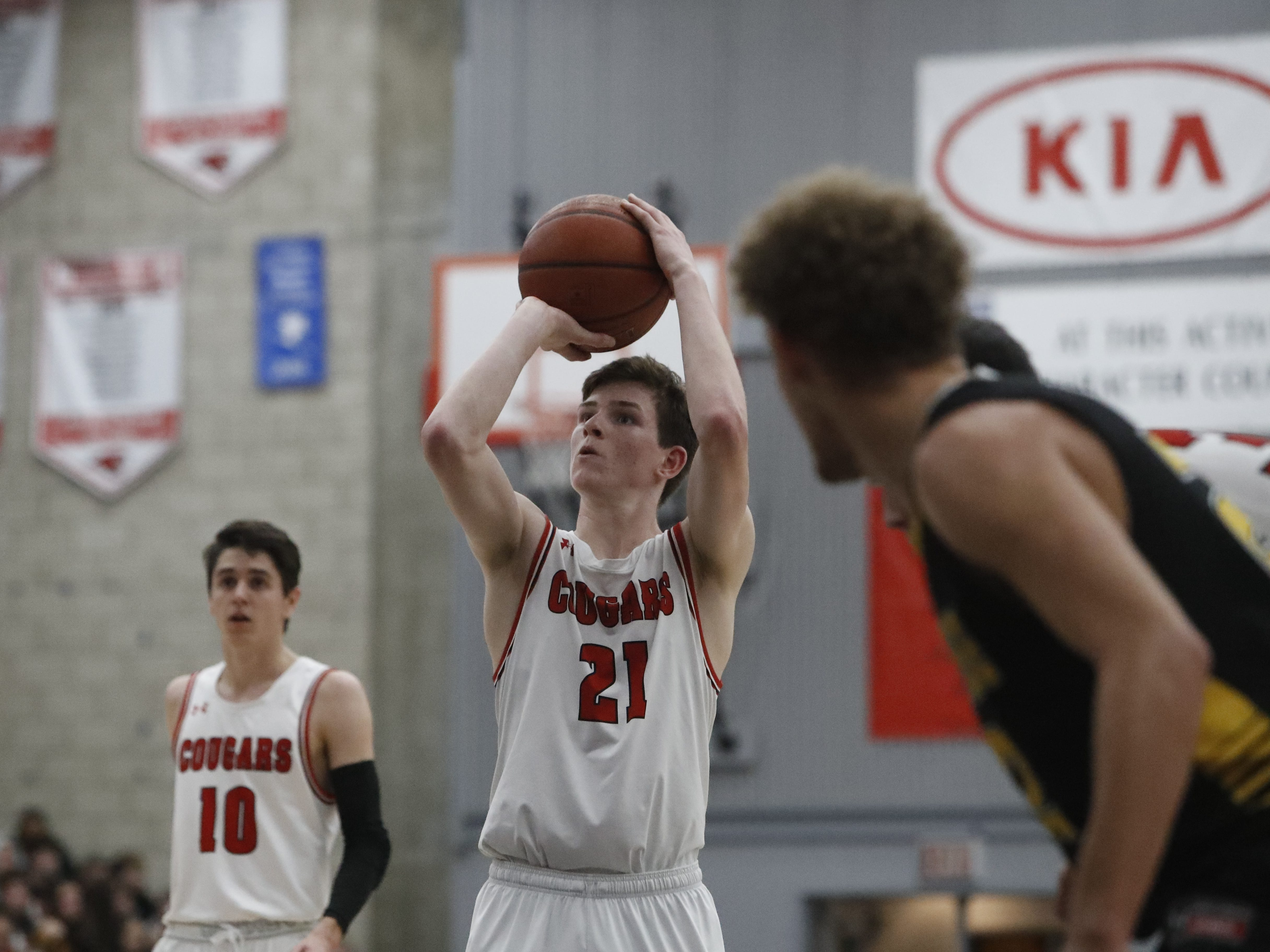 Foothill junior Luke Lindsey shoots a free throw during the Cougars' 55-50 win over the Hornets in the Division III Northern Section semifinals on Wednesday, Feb. 20.