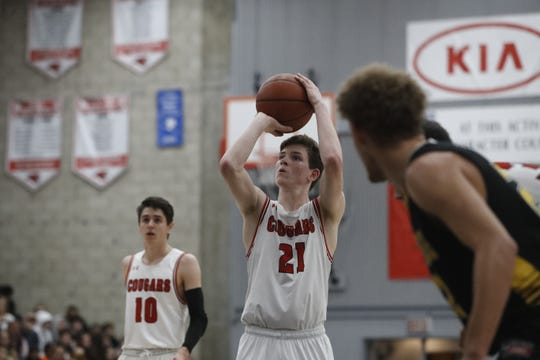 Foothill senior Luke Lindsey shoots a free throw during the Cougars' 55-50 win over the Hornets in the Division III Northern Section semifinals on Wednesday, Feb. 20, 2019.