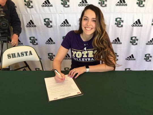 Shasta College sophomore Cameron Wallace signed to play volleyball with College of Idaho on Wednesday.