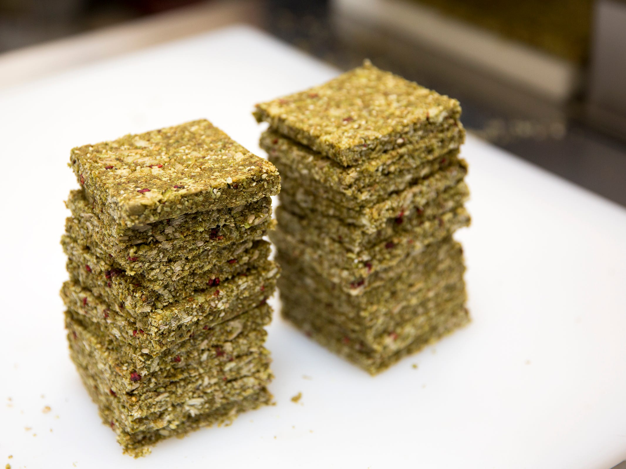 Raspberry kale maca-flavored LivBar organic energy bars are pictured in downtown Salem on Wednesday, Feb. 20, 2019.