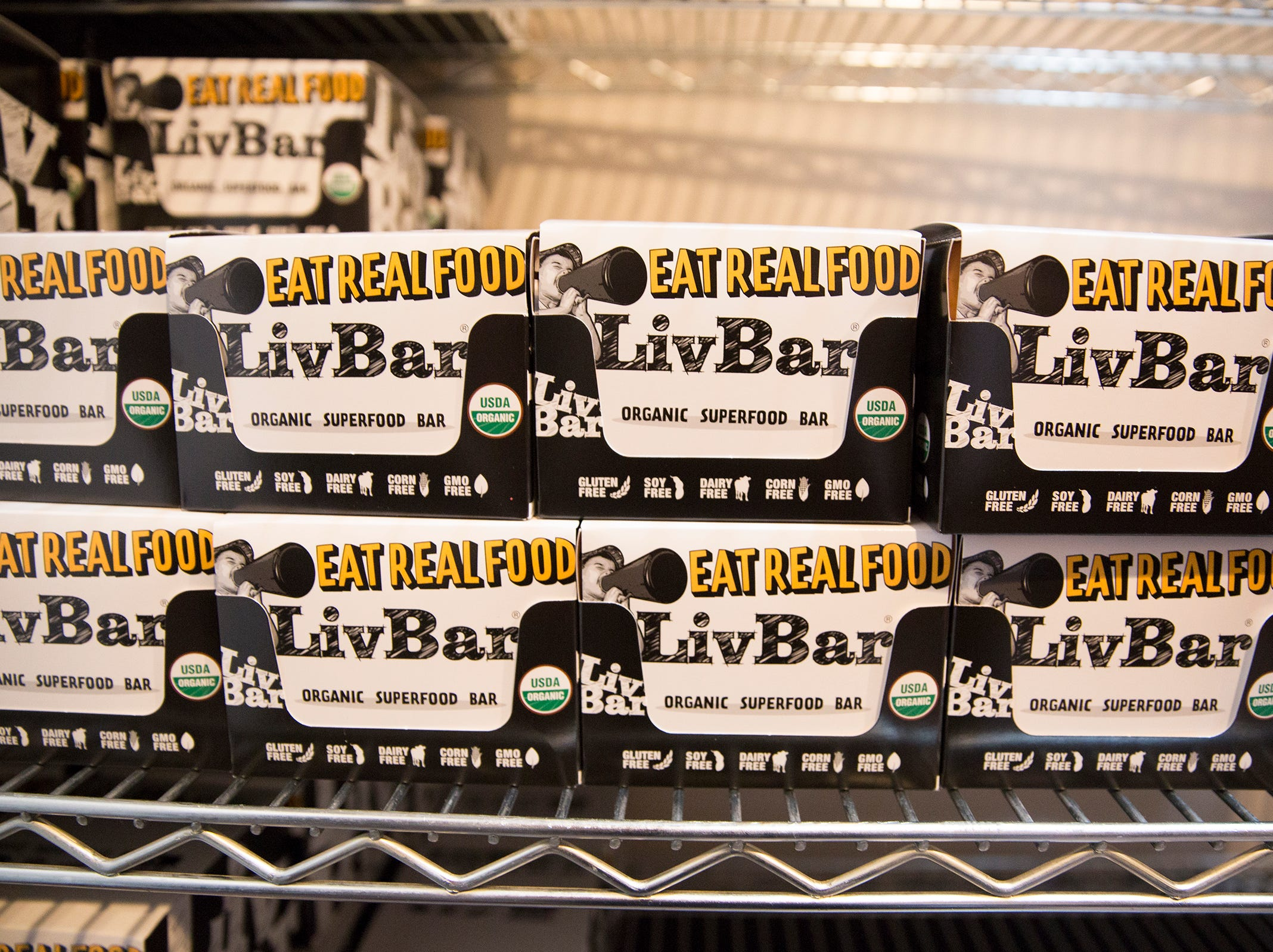 LivBar energy bars are stored in downtown Salem on Wednesday, Feb. 20, 2019. The bars are made with organic superfoods ingredients.