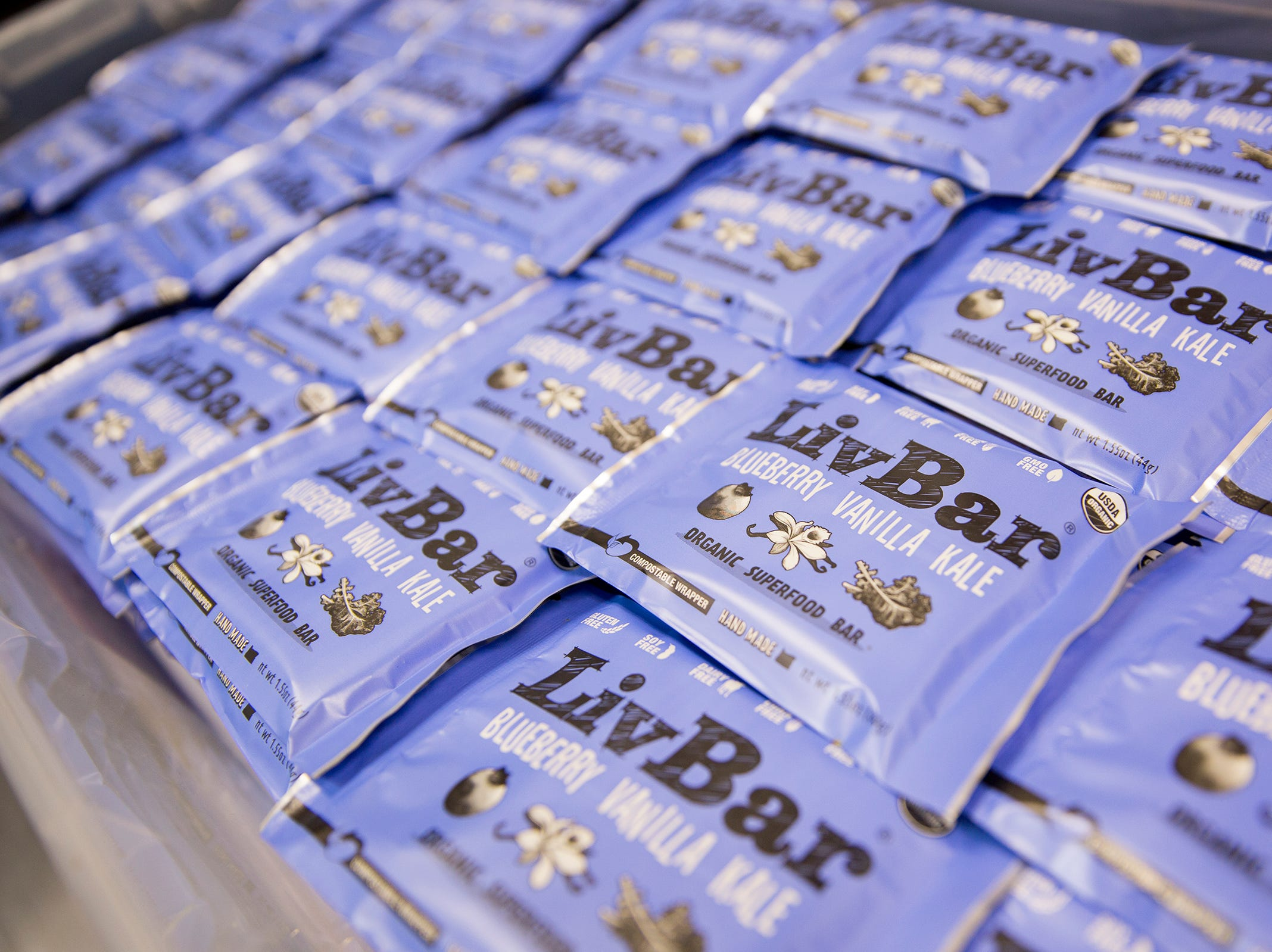 Blueberry vanilla kale LivBar energy bars are stored in downtown Salem on Wednesday, Feb. 20, 2019.