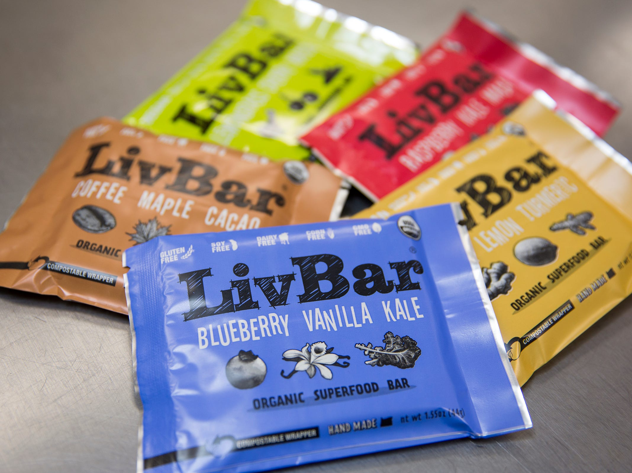 Five flavors of LivBar's; lemongrass cherry matcha, coffee maple cacao, blueberry vanilla kale, raspberry kale maca and ginger lemon turmeric are pictured in downtown Salem on Wednesday, Feb. 20, 2019.