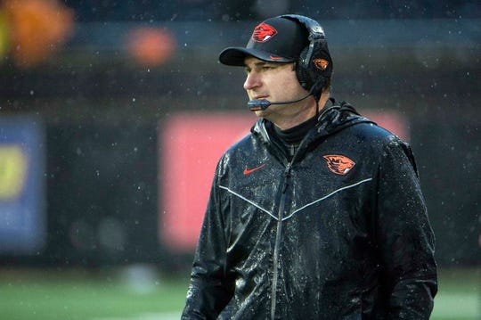 Nov 23, 2018; Corvallis, OR, USA; Oregon State Beavers head coach Jonathan Smith watches from the sidelines during the second half against the Oregon Ducks at Reser Stadium. The Oregon Ducks beat the Oregon State Beavers 55-15. Mandatory Credit: Troy Wayrynen-USA TODAY Sports