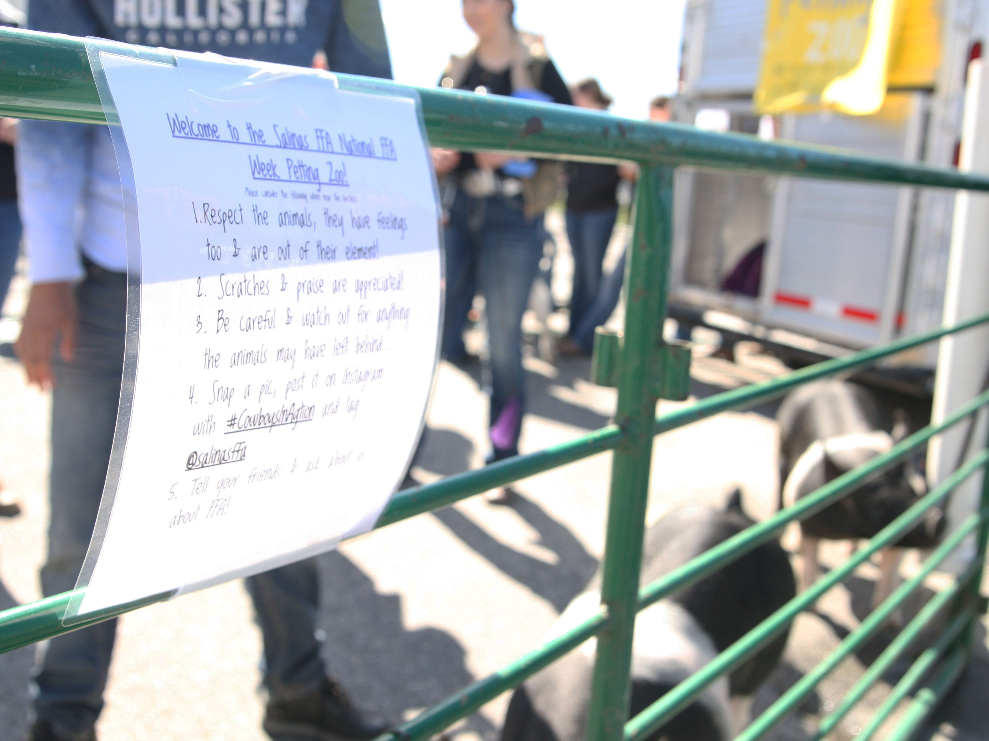 A sign taped to the petting zoo lists the rules for interacting with the animals.