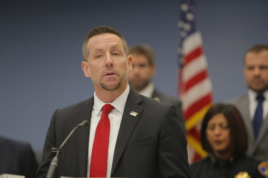 Ryan L. Spradlin, special agent with U.S. Immigration and Customs Enforcement's Homeland Security Investigations, speaks at the Salinas Police Department's press conference on Triple Beam Operation, a collaborative counter gang initiative conducted in partnership with local, state and federal law enforcement.