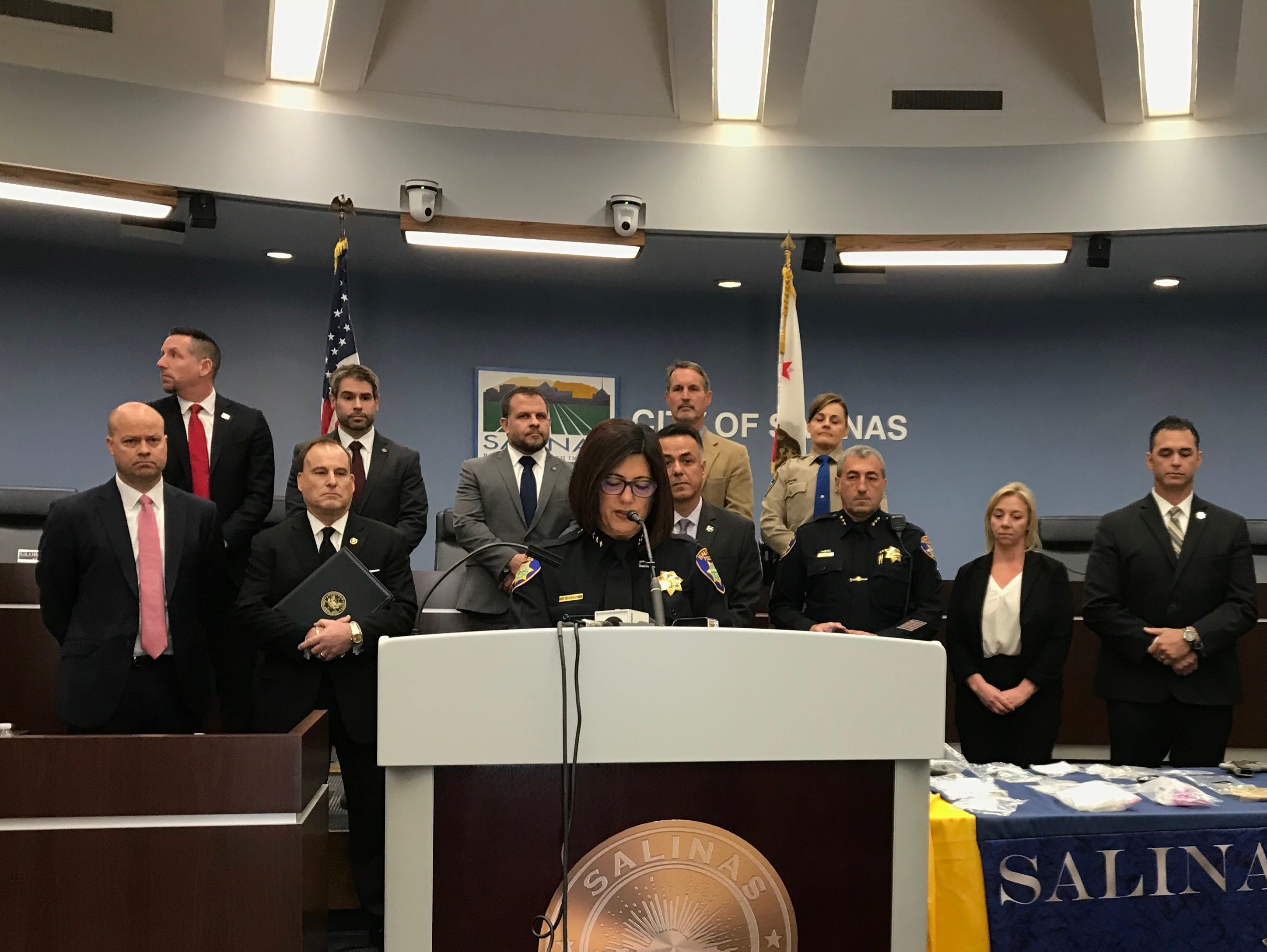 Salinas Police Chief Adele Frese leads the press conference Thursday for Triple Beam Operation, a collaborative counter gang initiative her police department conducted in partnership with local, state and federal law enforcement.