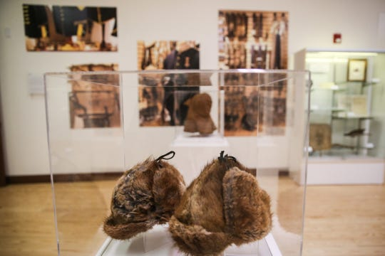 Muskrat fur cap patterned in 1878 on display as part of the Douglas McChristian Collection at Fort Concho.
