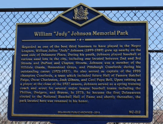 A plaque outside of Judy Johnson Memorial Park at 2nd and N. Clayton streets in Wilmington.