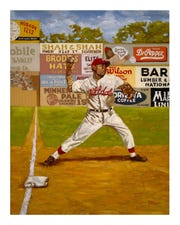 """-  -Pennsylvania Academy of the Fine Arts Judy Johnson makes a play from third base in """"The Long Hard Throw"""" by Dick Perez."""