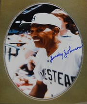 """An autograph photo of William """"Judy"""" Johnson from the collection of Barry Neeb."""