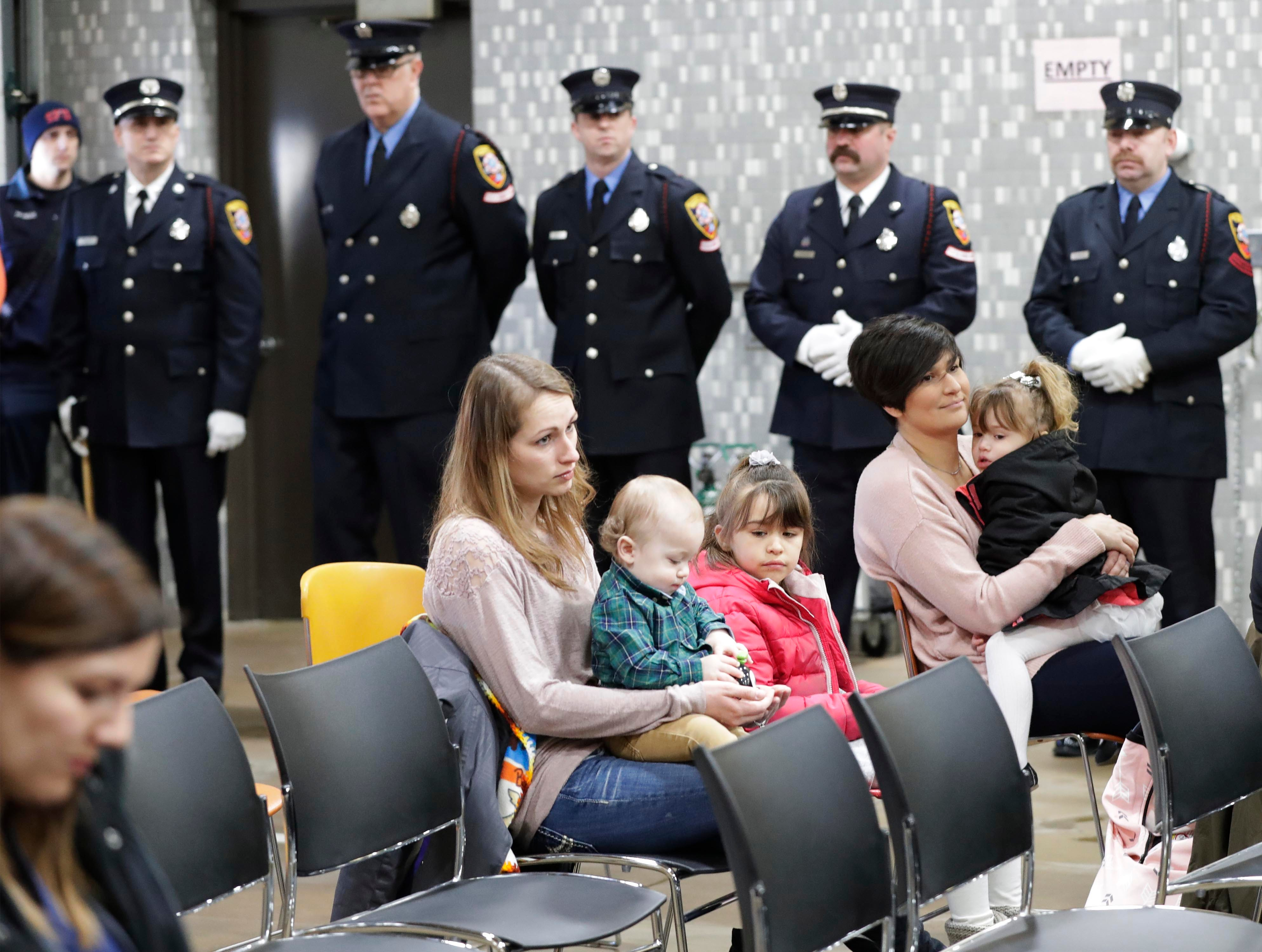 The audience at the firefighter ceremony, Wednesday, February 21, 2019, in Sheboygan, Wis.