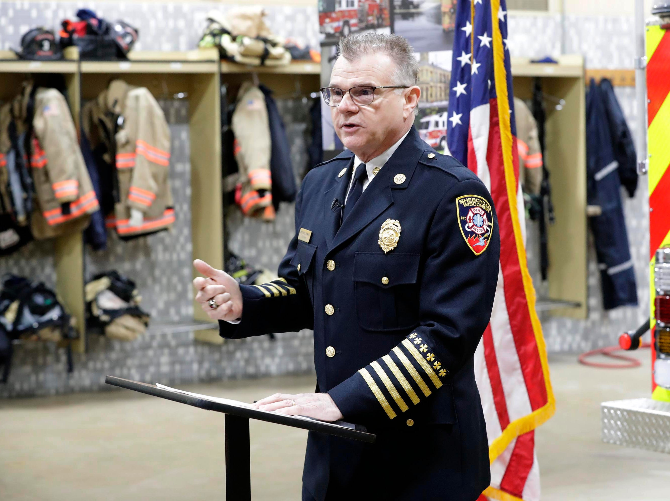Sheboygan Fire Chief Mike Romas tells the rescue story of the five Sheboygan firefighters honored, Wednesday, February 21, 2019, in Sheboygan, Wis.
