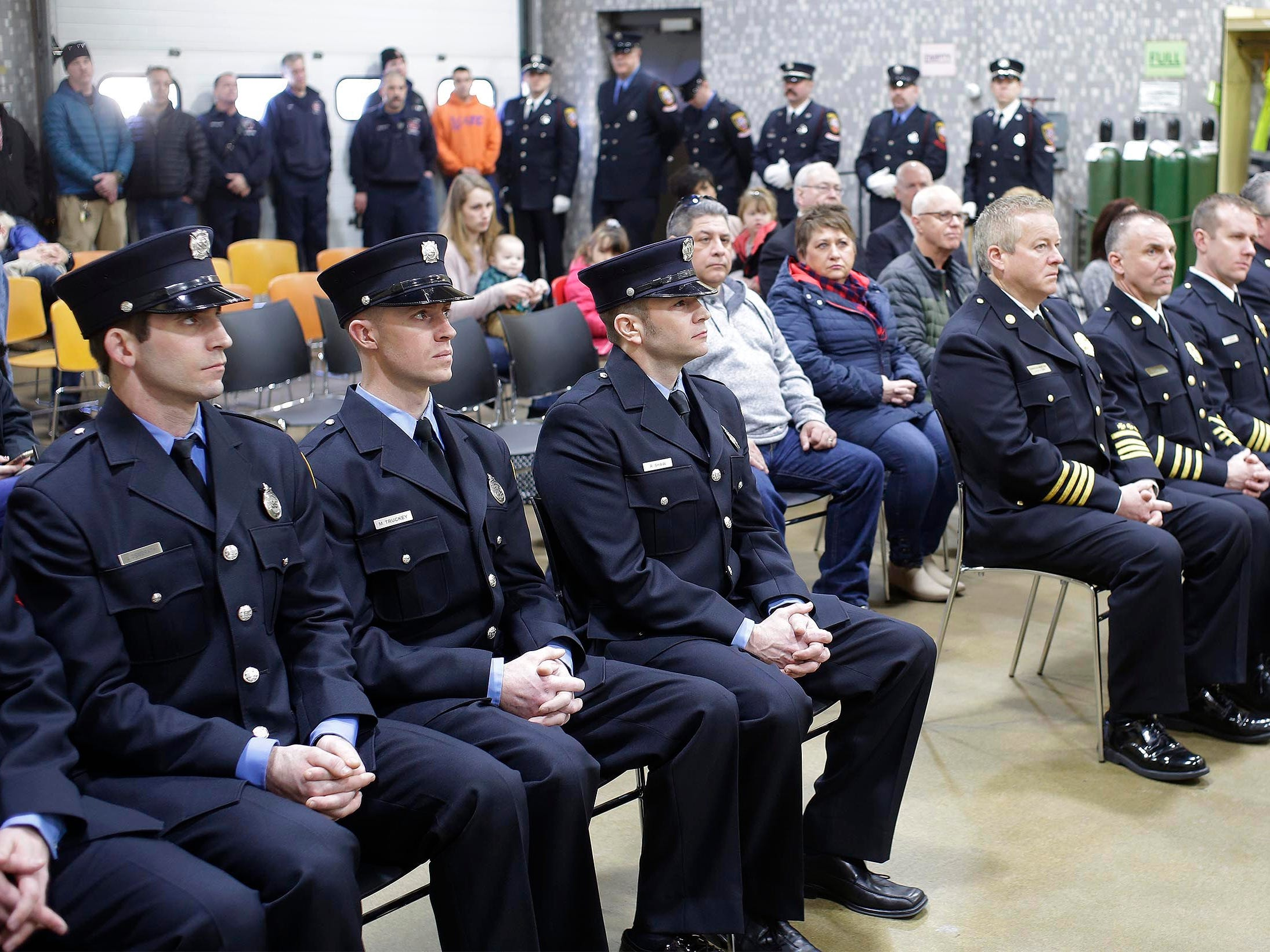 The crowd at the award ceremony at the Sheboygan Fire Department's Station 3, Wednesday, February 21, 2019, in Sheboygan, Wis.