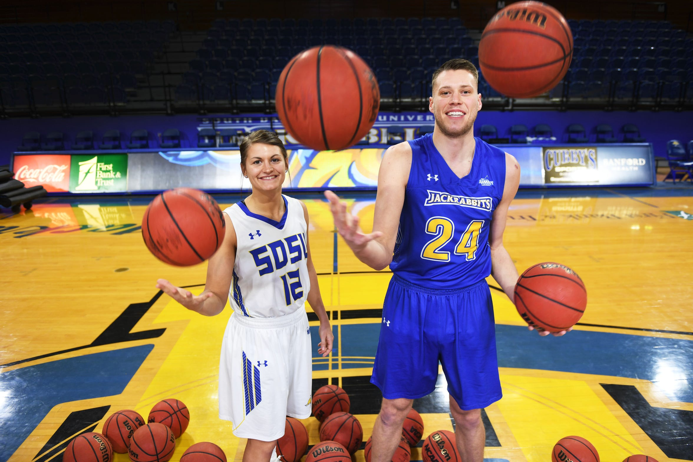 SDSU's Macy Miller and Mike Daum Tuesday, Feb. 19, in Brookings.
