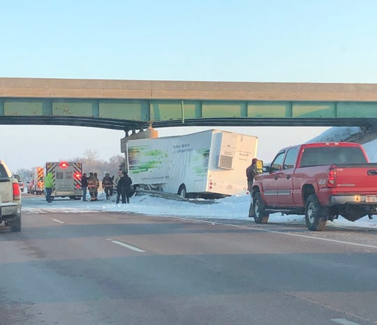 One person was killed after a semi-truck crashed into a bridge on Interstate 29 between the Baltic and Dell Rapids exits on Thursday, Feb. 21, 2019.