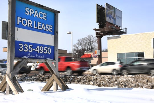 A space between ECig Crib and Mattress Firm is for lease at 2031 W 41st street Thursday, Feb. 21, in Sioux Falls.