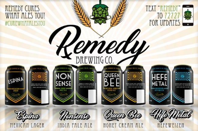 Renderings of designs of the beer cans to be produced at Remedy Brewing Co.'s planned production facility.