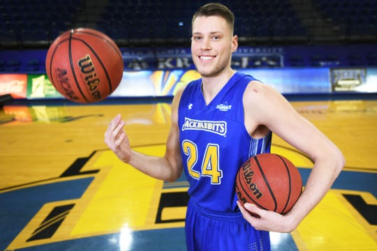 SDSU's Mike Daum Tuesday, Feb. 19, in Brookings.