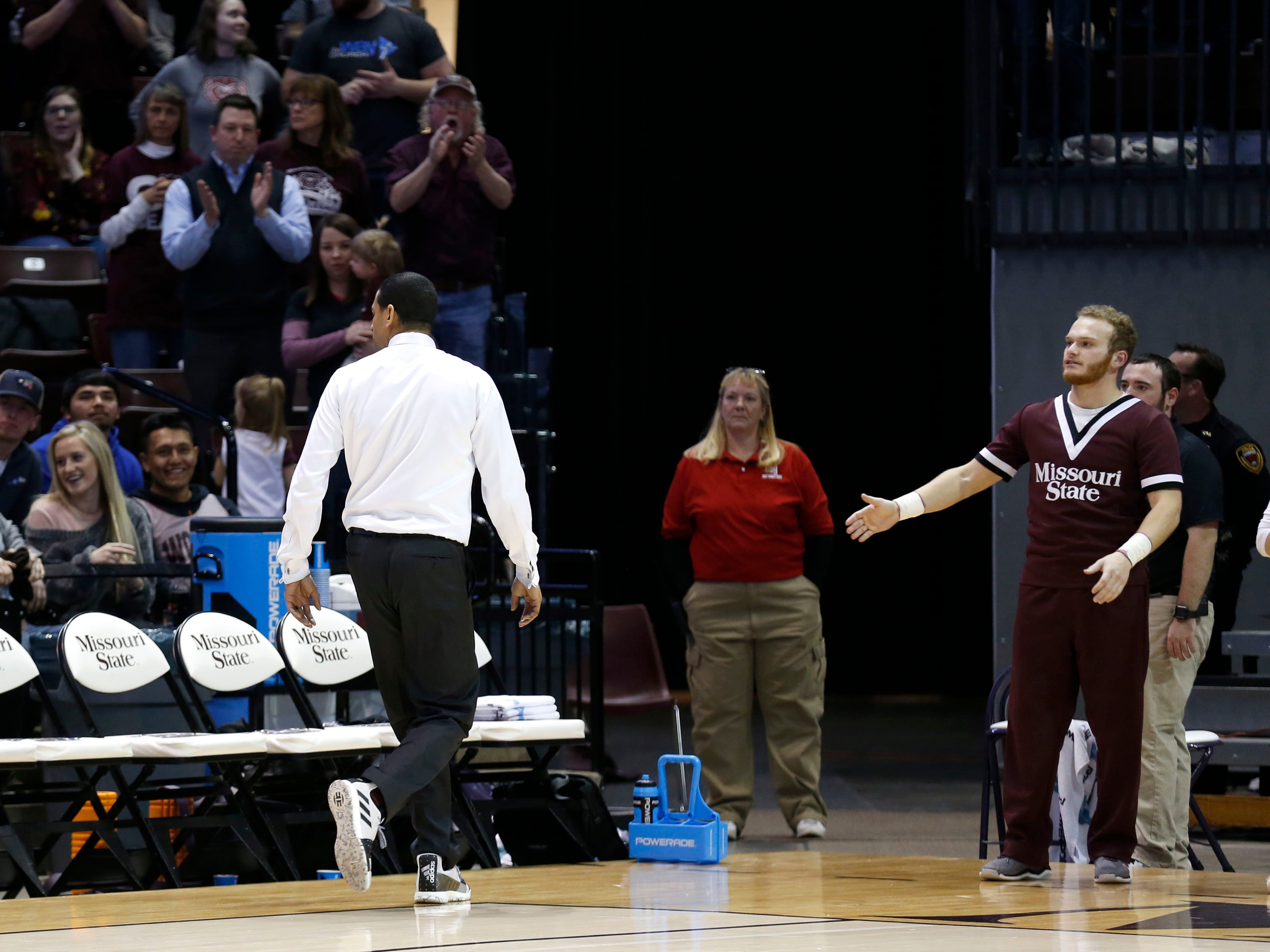 Dana Ford exits JQH Arena after being ejected during a game against the UNI Panthers on Wednesday, Feb. 20, 2019.