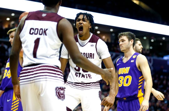 Missouri State's Tulio Da Silva reacts after teammate Keandre Cook drew a foul as the Bears take on the University of Northern Iowa Panthers at JQH Arena on Wednesday, Feb. 20, 2019.