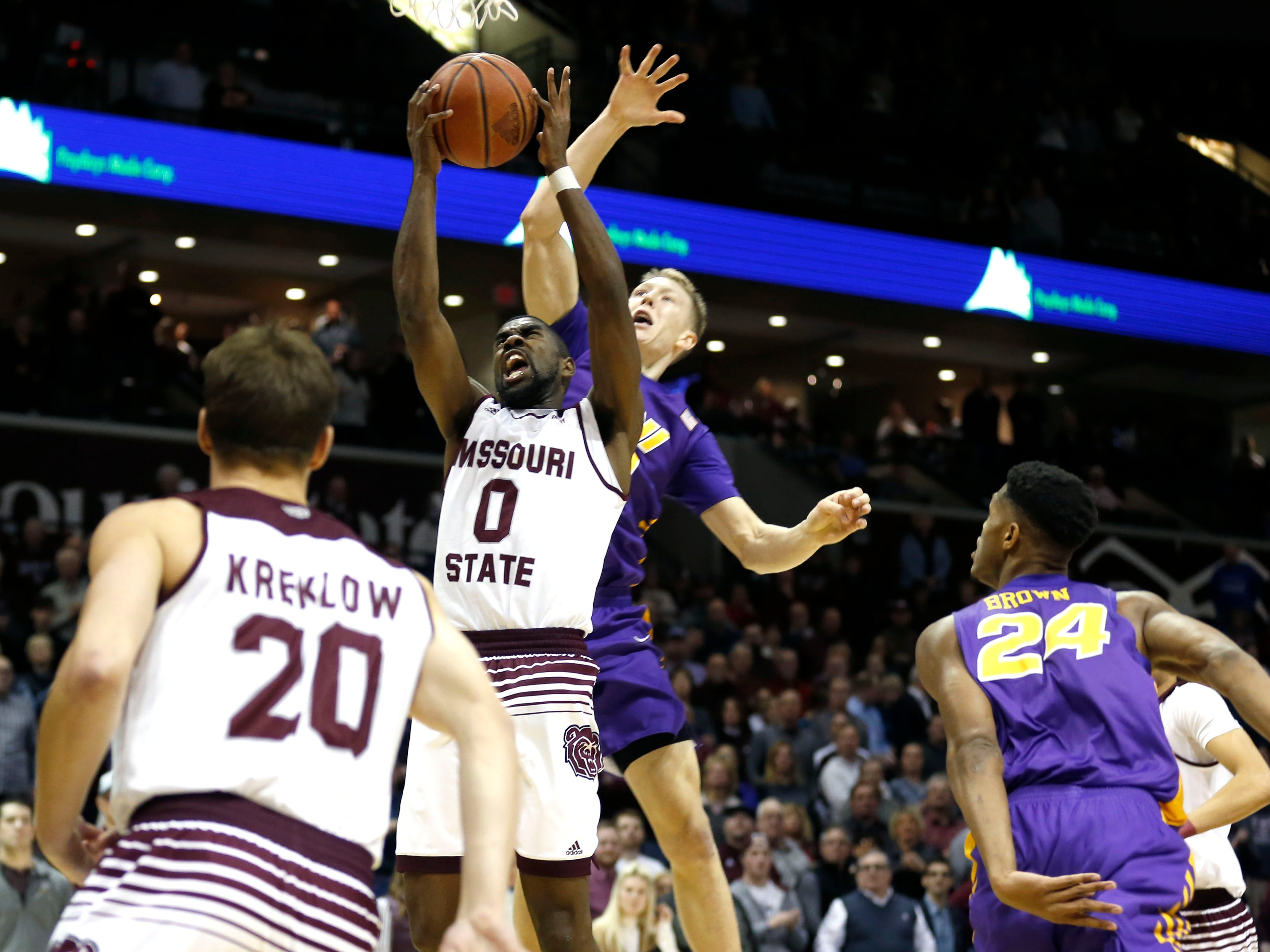 The Missouri State Bears take on the University of Northern Iowa Panthers at JQH Arena on Wednesday, Feb. 20, 2019.
