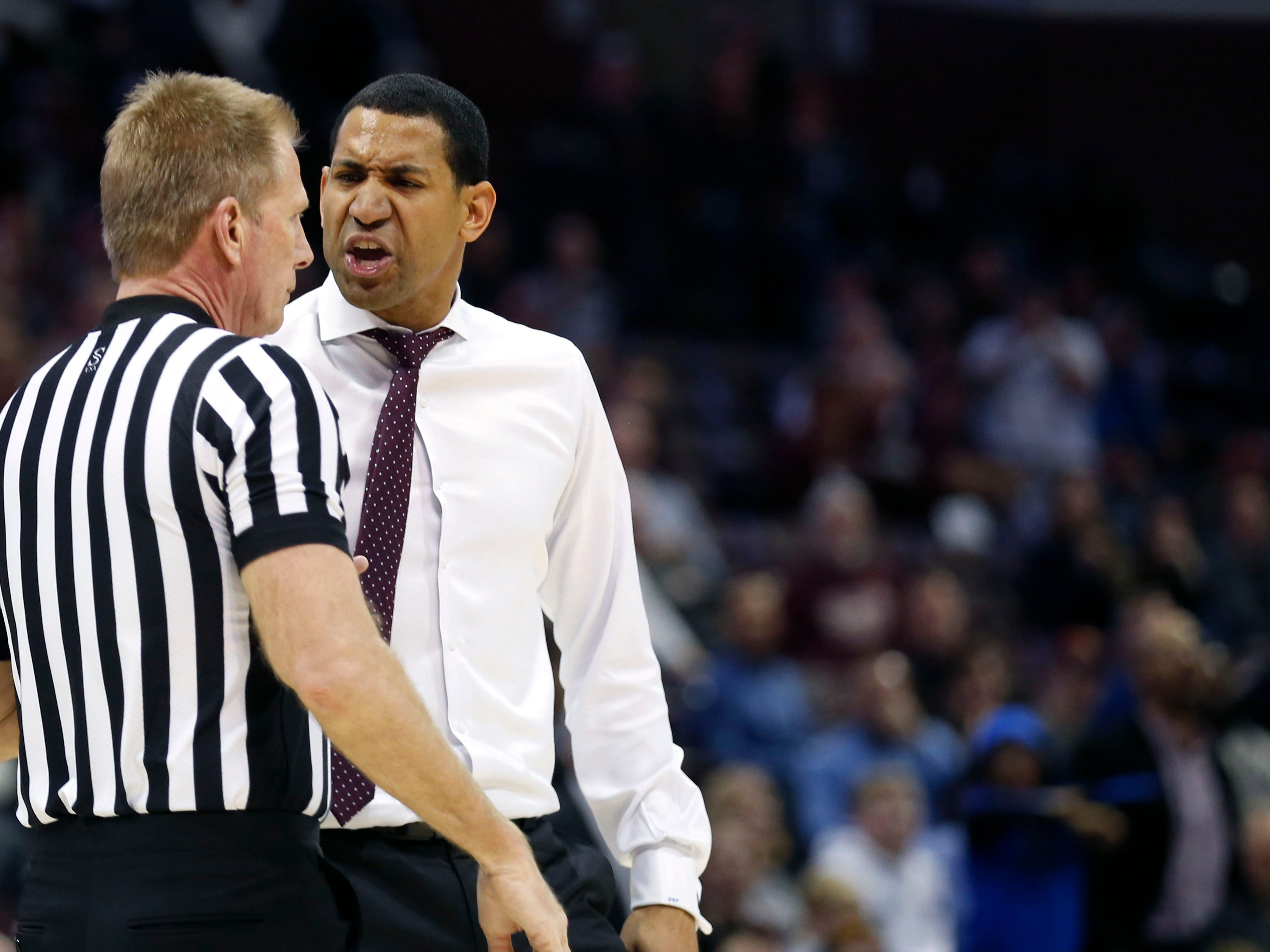 Missouri State Bears head coach Dana Ford is ejected after bumping the referee as the Bears take on the University of Northern Iowa Panthers at JQH Arena on Wednesday, Feb. 20, 2019.