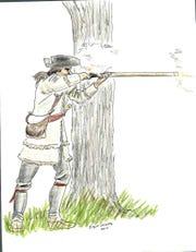 A frontiersman shooting a long rifle.