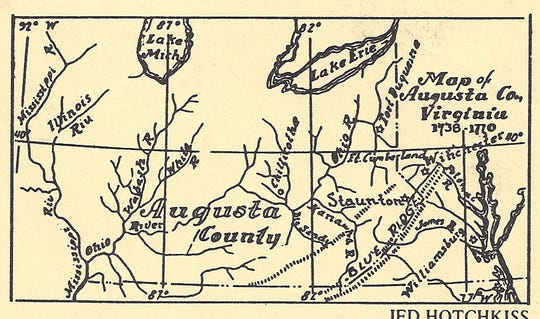 This map, drawn by Jed Hotchkiss, shows the original boundaries of Augusta County when it went to the Mississippi River.