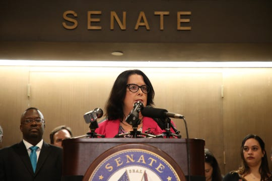 Sen. Kelli Stargel, chair of the Senate appropriations subcommittee of education announces components of new education legislation in front of the Senate chamber Thursday, Feb. 21, 2019.
