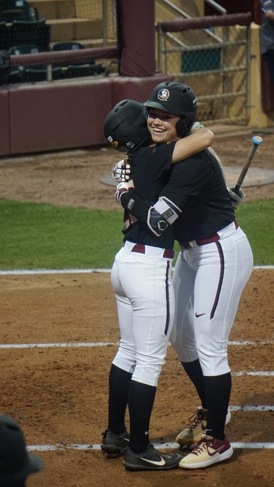 Florida State's Leslie Farris and Cassidy Davis.