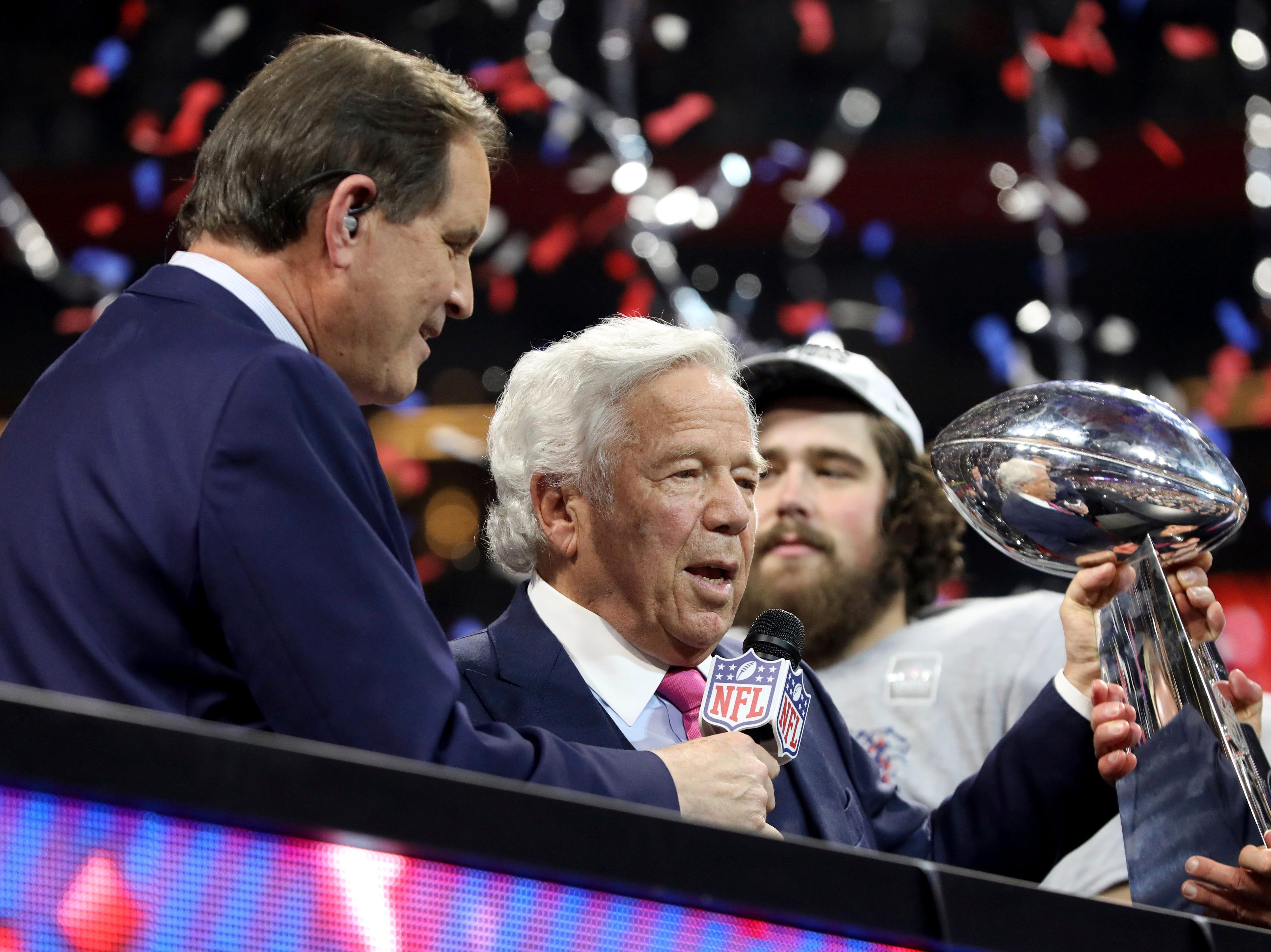 New England Patriots owner Robert Kraft celebrates a win against the Los Angeles Rams after NFL Super Bowl 53, Sunday, February 3, 2019 in Atlanta. The Patriots won 13-3.