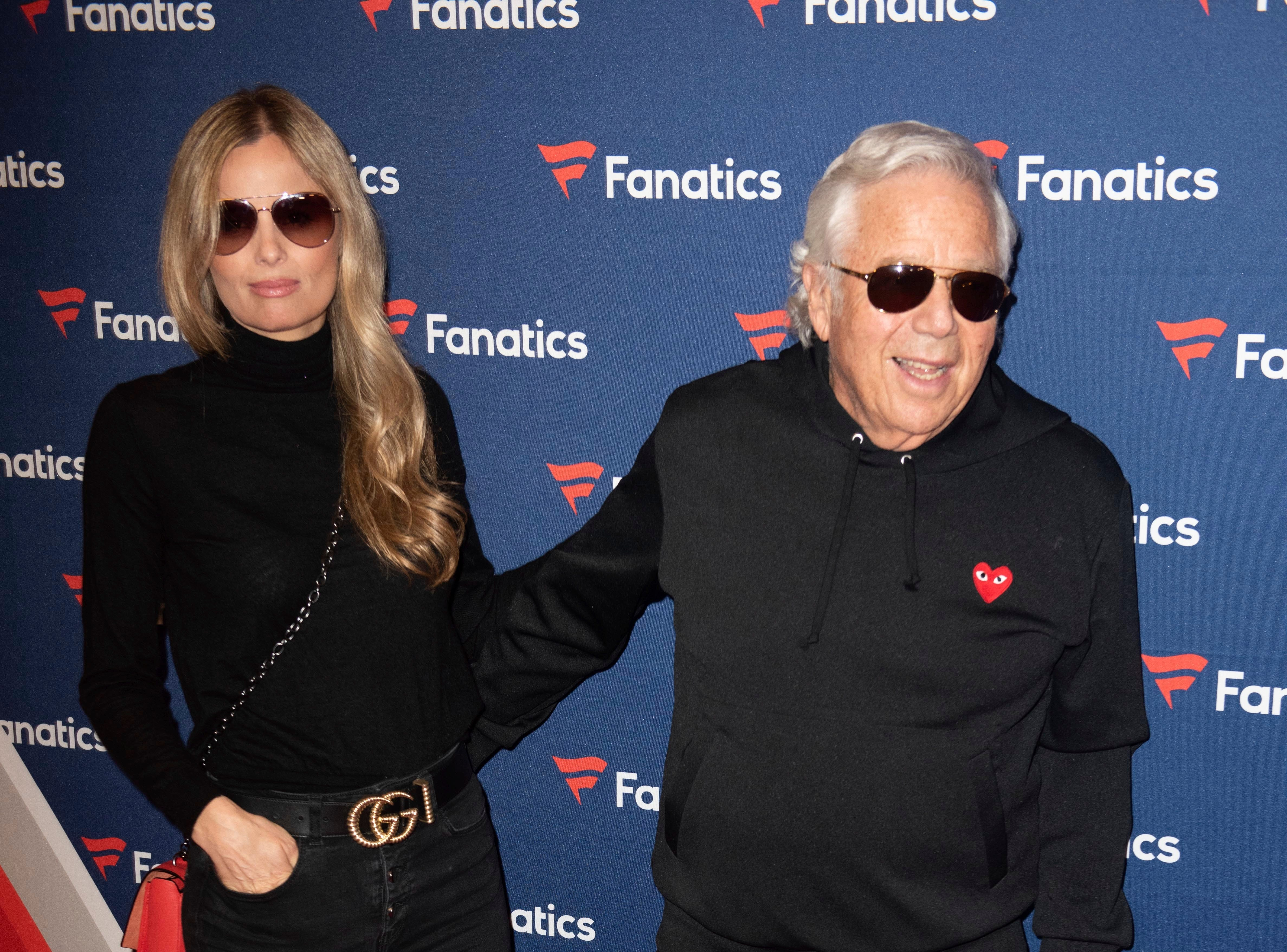 Ricki Noel Lander, left, and Robert Kraft, right, arrive at the 2019 Fanatics Super Bowl Party on Saturday, Feb. 2, 2019, in Atlanta.