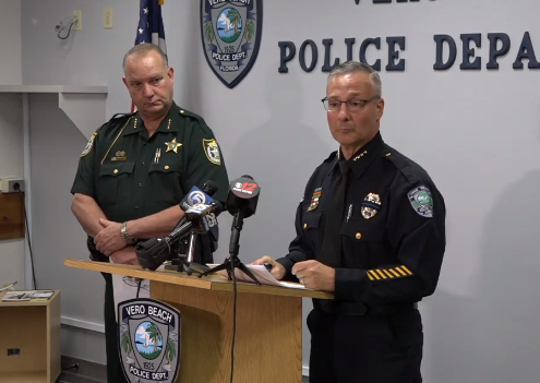Vero Beach Police Chief David Currey (right) and Sheriff Deryl Loar conduct a news conference on human trafficking in Indian River County Feb. 21, 2019.
