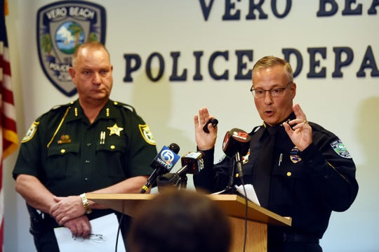 Vero Beach Police Chief David Currey (right), along with Indian River County Sheriff Deryl Loar, addresses the media at a press conference on Thursday, Feb. 21, 2019 about a multi-agency investigation into human trafficking and prostitution at massage parlors in Indian River County. From the three spas investigated by law enforcement, 171 arrest warrants have been issued in Indian River County and 45 have been arrested, according to Sheriff Loar.