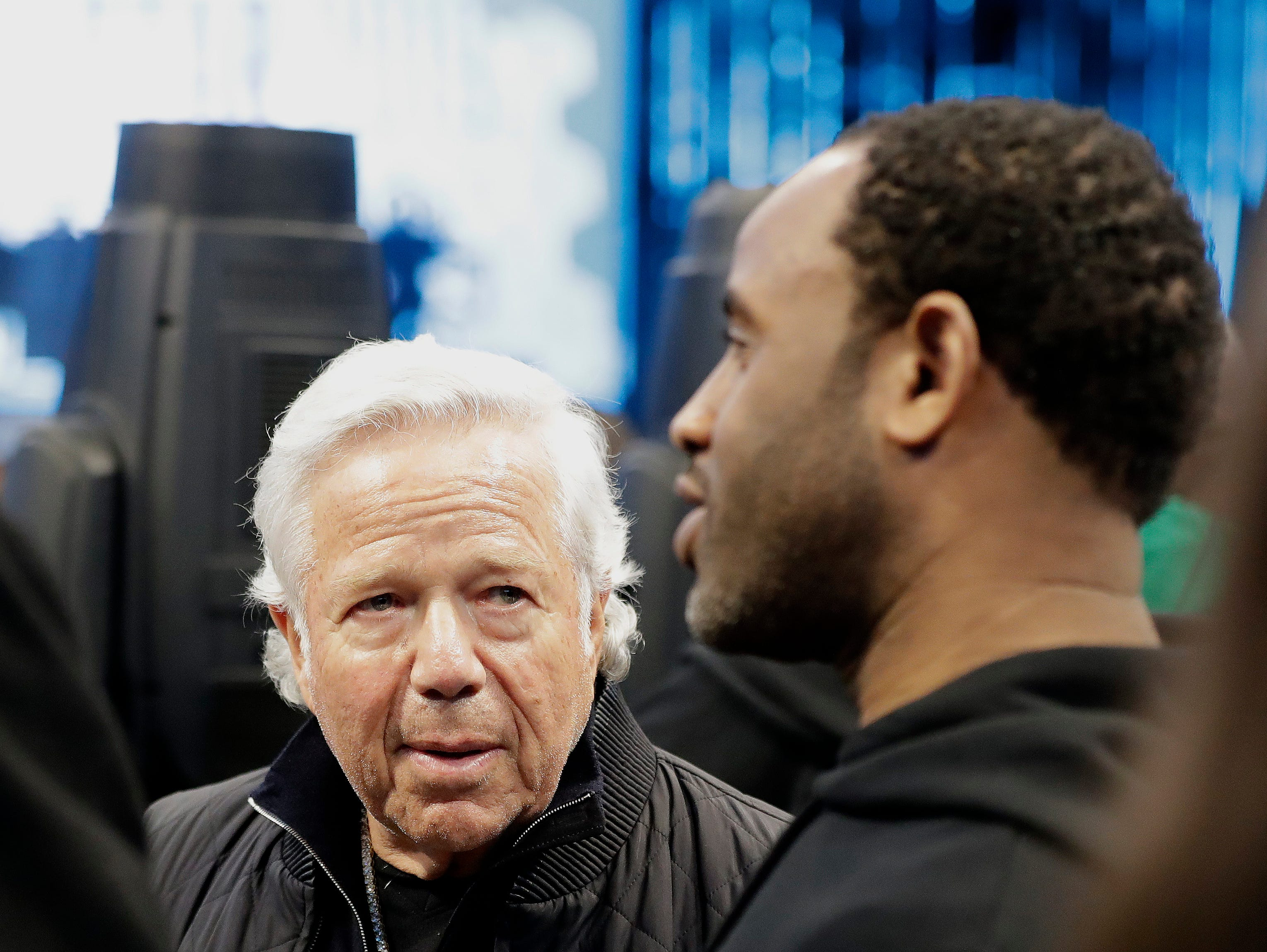 New England Patriots Owner Robert Kraft speaks to fans during the first half of an NBA All-Star basketball game, Sunday, Feb. 17, 2019, in Charlotte, N.C.