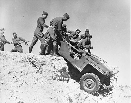 In 1941, soldiers of the First Cavalry Division, Fort Bliss, put four jeeps, experimental vehicles at the time, through two weeks of rugged day and night testing in Texas, New Mexico and Arizona.