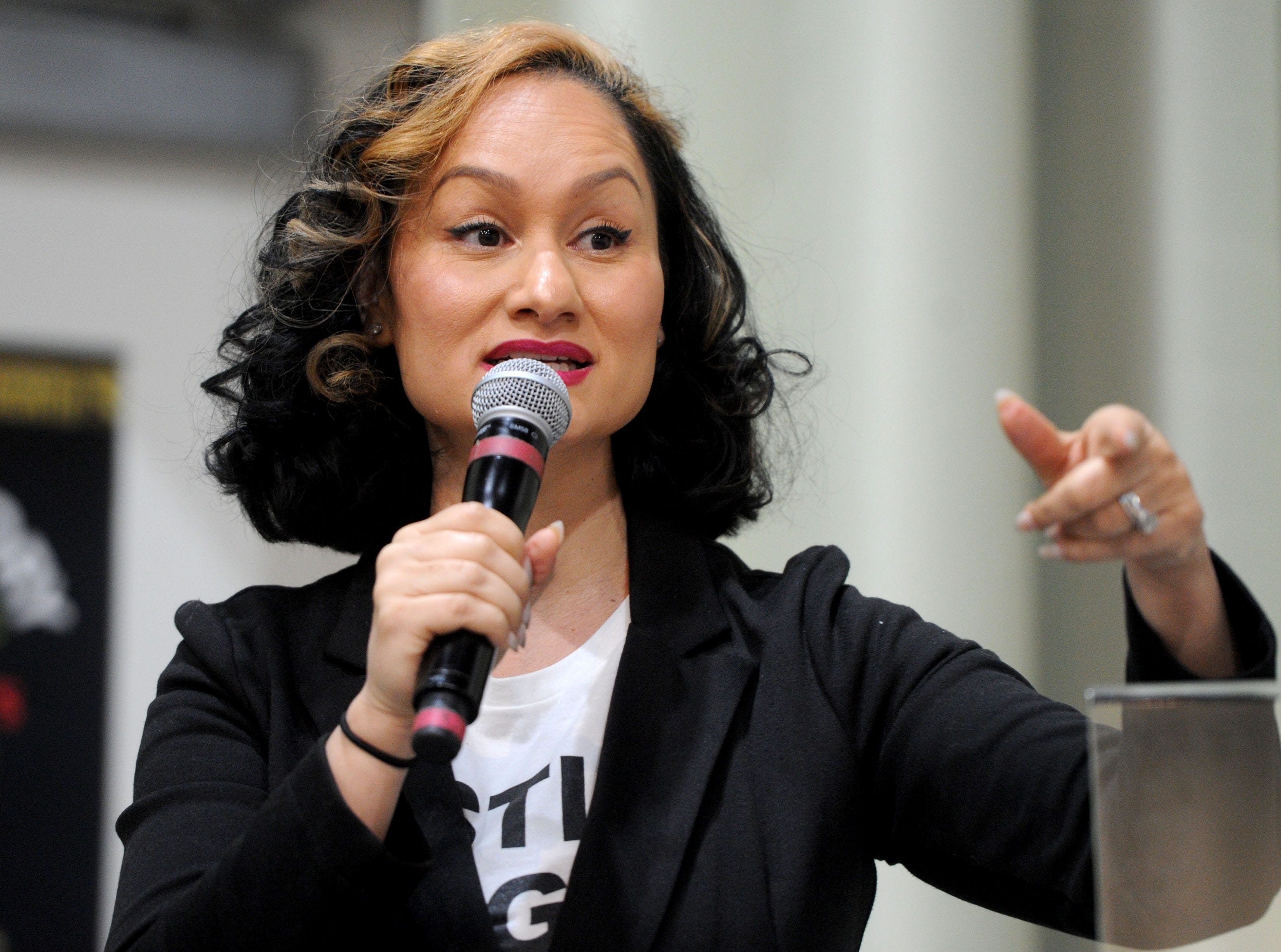 Carmen Perez, nationally known activist and Oxnard native, speaks at a Black History Month event Wednesday at Oxnard College. Perez is best known as being one of the co-chairs of the national Women's March movement.