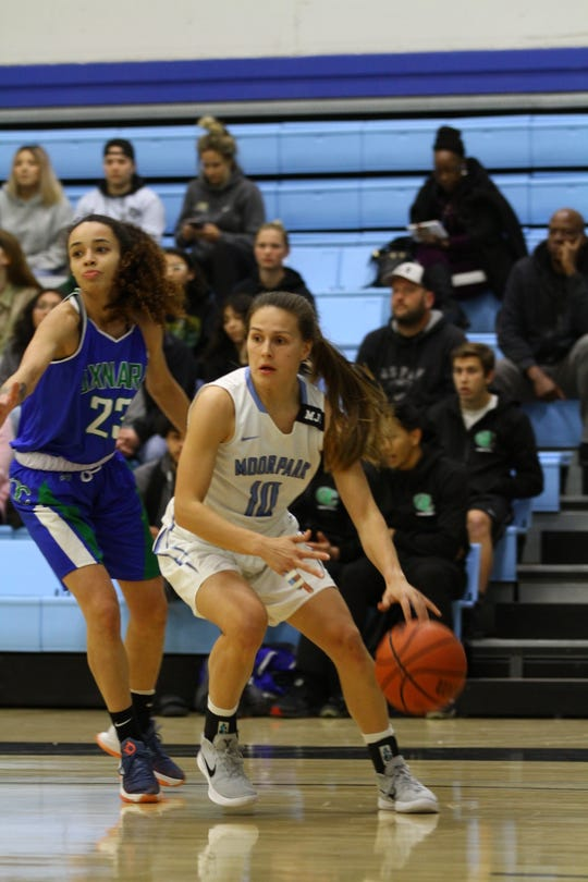Sophomore guard Emily Herring and the Moorpark College women's basketball team clinched a share of the WSC North championship on Tuesday night at Raider Pavilion.